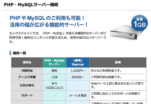 PHP・MySQLサーバー機能 | ドメイン取得&無料レンタルサーバー Xdomain(エックスドメイン)