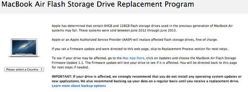 MacBook Air Flash Storage Drive Replacement Program