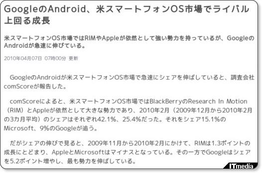 米スマートフォンOS市場でGoogleアンドロイドのシェアを伸ばす