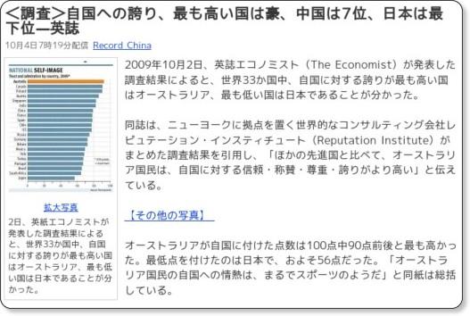 自国への誇り、日本が最下位な件