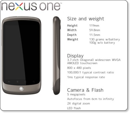 遂にNexus One(ネクサス・ワン)が発表!スマートフォンの新たなる火ぶたが切って落とされる!
