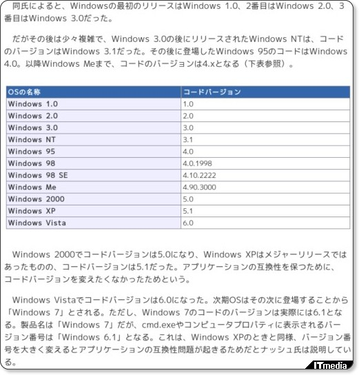 Windows7はWindows6.1?
